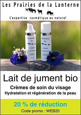 Crèmes de soin bio du visage Lait de jument bio Cosmétiques naturels Prairies de la Lanterne