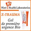 Z trauma Mint E Labs Gel de Cosmétique naturel améliorant l'état de la peau dans le cadre de traumatismes quotidiens mineurs.